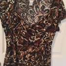 CHICOS Animal Print Brown Tunic Womens Top Size 2 Fits M/L Sexy Blouse A