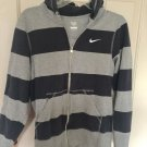 Nike The Athletic Dept Navy Blue/Gray Striped  Zip Jacket Hoodie Mens Size S/P.