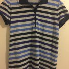 Faded Glory Short Sleeve Striped Polo Shirt - Women's Size M 8-10. N