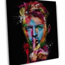 David Bowie Colourful Psychedelic Art Image 20x16 Framed Canvas Print