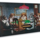 Dogs Playing Poker Funny Art Home Wall Decor 16x12 FRAMED CANVAS Print