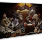 Cats Playing Poker Funny Art Home Wall Decor 20x16 FRAMED CANVAS Print