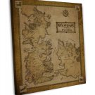 Game Of Thrones Houses Map Westeros TV Show Wall Decor 16x12 FRAMED CANVAS Print