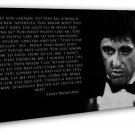 Scarface Classic Movie Art Al Pacino Quotes 20x16 FRAMED CANVAS Print