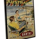 Vintage Retro Australia Qantas Travel Art Image 20x16 Framed Canvas Print