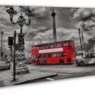 Red London Bus With Big Ben Cityscape Wall Decor 20x16 FRAMED CANVAS Print