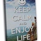 Keep Calm And Enjoy Life Inspirational Quote Image 16x12 Framed Canvas Print