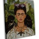 Frida Kahlo Self Portrait Painting Fine Art 20x16 Framed Canvas Print