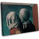 Rene Magritte Rene Magritte The Lovers Fine Art 20x16 Framed Canvas Print