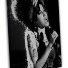 Amy Winehouse Music Singer Star Art Black White 16x12 FRAMED CANVAS Print
