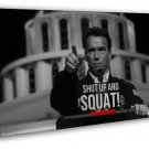 Shut Up And SQUAT Arnold Schwarzenegger Motivational Quotes 20x16 FRAMED CANVAS