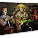 Michael Myers Vs Jason Voorhees Slashers Horror Movie 20x16 Framed Canvas Print