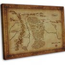 Map Of Middle Earth Lord Of The Rings Wall Decor 16x12 FRAMED CANVAS Print