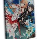 Sword Art Online Anime Art Wall Kirito Asuna 20x16 FRAMED CANVAS Print