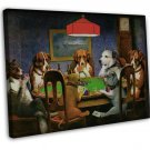 Dogs Playing Poker Vintage Wall Decor 16x12 FRAMED CANVAS Print