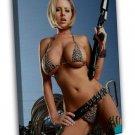 Hot Sexy Underwear Model Girl With Guns Art 16x12 FRAMED CANVAS Print