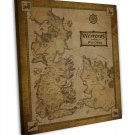 Game Of Thrones Houses Map Westeros TV Show Wall Decor 20x16 FRAMED CANVAS Print