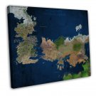 Game Of Thrones World View Westeros Essos Map Wall Decor 20x16 FRAMED CANVAS P