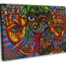 Psychedelic Trippy Monster Abstract Art 20x16 FRAMED CANVAS Print