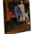 Norman Rockwell Breaking Home Ties Fine Art 20x16 Framed Canvas Print