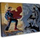 Superman V Batman Art Image 20x16 Framed Canvas Print