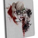 Harley Quinn Joker Watercolour Art Image 16x12 Framed Canvas Print
