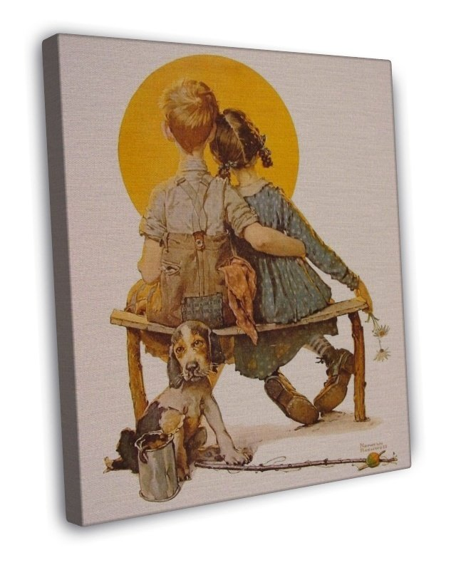 Norman Rockwell Boy And Girl Gazing At The Moon Fine Art 20x16 Framed Canvas Pri