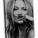 Kate Moss Life Is A Joke Mustasch Black White 16x12 Framed Canvas Print