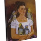 Frida Kahlo Me And My Parrots Art Image 20x16 Framed Canvas Print
