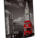 Red London Bus With Big Ben Cityscape Wall Decor 16x12 FRAMED CANVAS Print