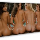 Four Sexy Girls Art Hot Ladies At Pool 16x12 Framed Canvas Print