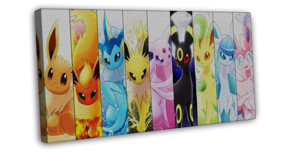 Cute Sylveon Pokemon Pocket Monster Anime Art 20x16 FRAMED CANVAS Print