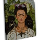 Frida Kahlo Self Portrait Painting Fine Art 16x12 Framed Canvas Print