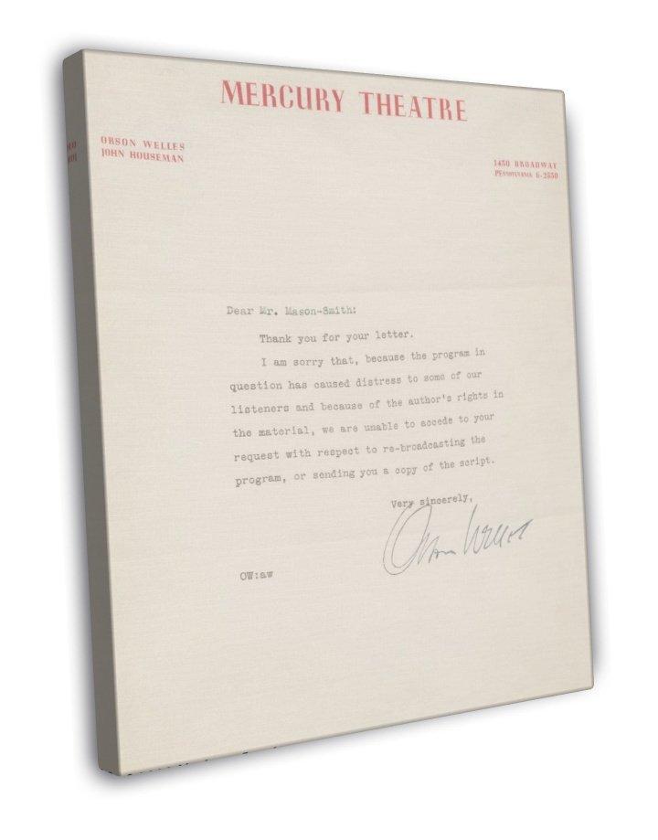 Orson Welles Autographed Letter Vintage Movie FRAMED CANVAS Print