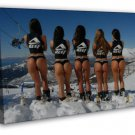 Five Sexy Girls Skiing Hot Ladies Butt 20x16 Framed Canvas Print