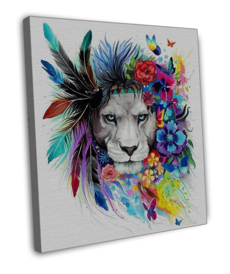 Lion Chief Cat Watercolour Art Image 16x12 Framed Canvas Print