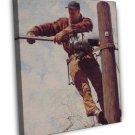 Norman Rockwell The Lineman Fine Art 16x12 Framed Canvas Print