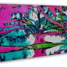 Psychedelic Trippy Tree Abstract Art 20x16 FRAMED CANVAS Print