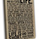 Love Your Life Inspirational Reading Quotes 16x12 FRAMED CANVAS Print