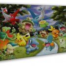 Pokemon Pikachu Playing Cards Anime Pictures 20x16 FRAMED CANVAS Print