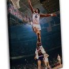 Julius Erving Dr J Dunk Basketball Vintage 20x16 Framed Canvas Print