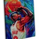 Michael Jordan Basketball Sports Fabric 16x12 FRAMED CANVAS Print