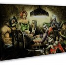 Batman Joker Harley Quinn Playing Poker Funny Art 16x12 FRAMED CANVAS Print