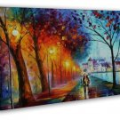 A Couple Walking In Rain Abstract Art 20x16 Framed Canvas Print