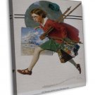 Norman Rockwell Girl Running With Wet Canvas Fine Art 20x16 Framed Canvas Print