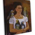 Frida Kahlo Me And My Parrots Fine Art 20x16 Framed Canvas Print