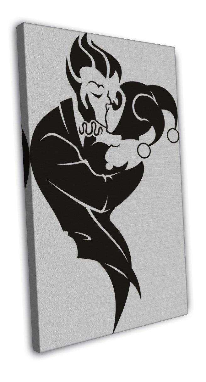 Harley Quinn And The Joker Embrace Art Image 20x16 Framed Canvas Print