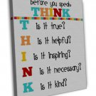 Think Before You Speak Classroom Motivational Wall Decor 16x12 FRAMED CANVAS Pri