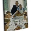 Norman Rockwell Freedom From Want Fine Art 16x12 Framed Canvas Print