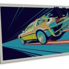 Delorean DMC 12 Back To The Future Time Travel Machine 16x12 FRAMED CANVAS Prin